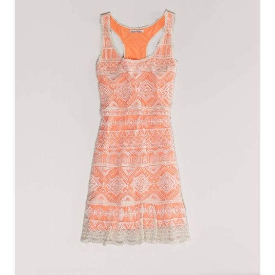 Ae Crocheted Neon Tank Dress ($50) ❤ liked on Polyvore