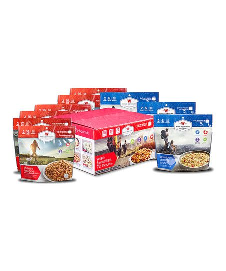 Wise Company Favorites 72-Hour Kit | zulily.Featuring three days' worth of nutritious easy-to-prepare food, this set is the ideal gift for for campers and other humans on-the-go,  Includes chili mac with beef (two servings), pasta alfredo with chicken (two servings), teriyaki chicken (two servings), noodles in mushroom sauce (two servings), cheesy lasagna (two servings), creamy pasta with chicken (two servings), strawberry granola crunch (two servings) and apple cinnamon cereal (four…