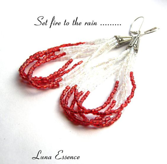 Long Beaded Poppy Red AB Finish Earrings by LunaEssence on Etsy, $19.95