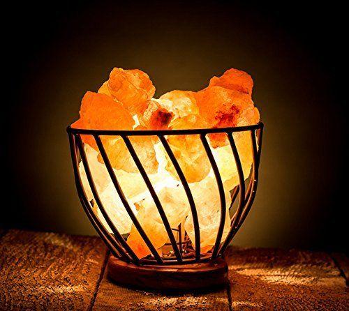 HemingWeigh Himalayan Salt Lamp Metal Bowl with Himalayan Salt Chips on Wooden Base With Electric Wire a… | Himalayan salt lamp, Salt lamp, Himalayan rock salt lamp