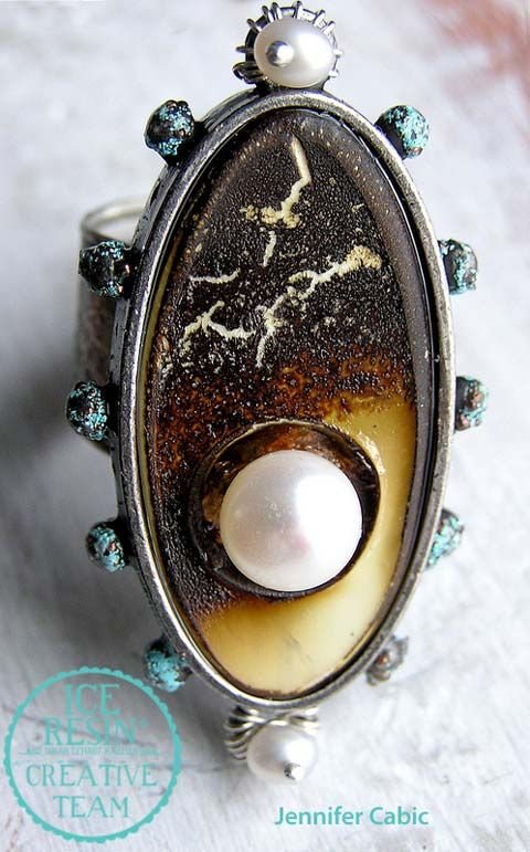 Iced Enameled Pearl & Bone Ring by Jennifer
