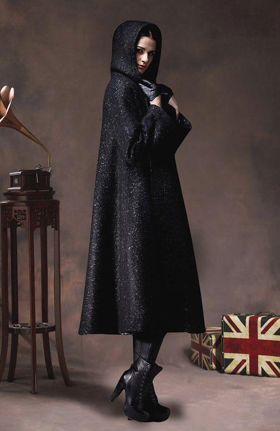 black wool coat hooded coat winter jacket cashmere coat long coat