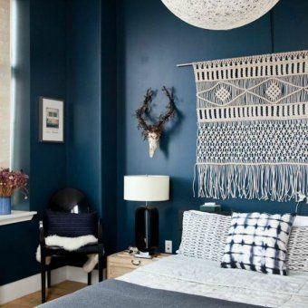 Murs Bleu Fonce Et Deco Blanche Avec Images Decoration Mur