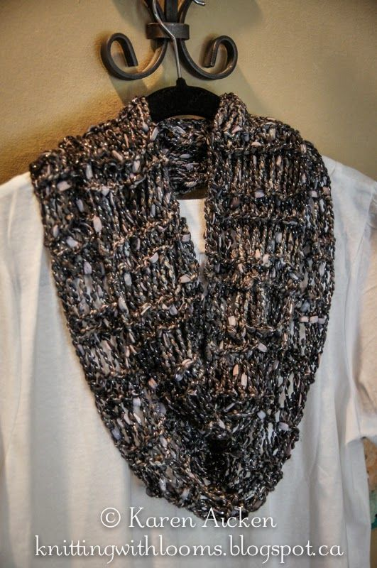 Loom Knit Infinity Scarf Pattern : Knitting With Looms: Finished Dressy Infinity Scarf golas Pinterest Loo...