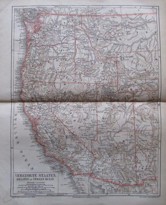 VEREINIGTE STAATEN STILLEN OCEAN 1878 Alte Landkarte Lithographie USA Old Map