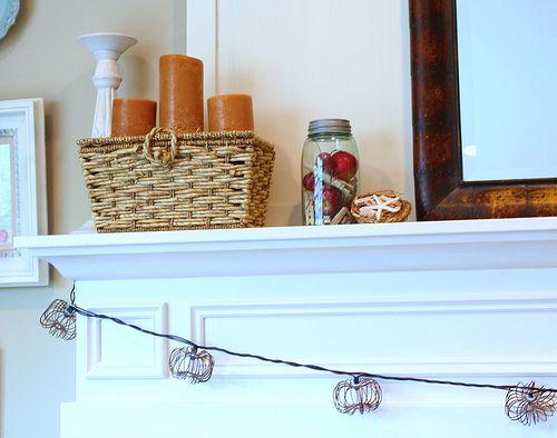 Fall Mantel (pumpkin string lights!)