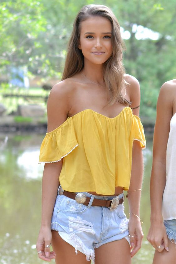 Aria Off the Shoulder Top in Sunflower