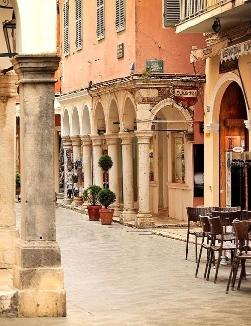 Kerkyra Town, Corfu Island, Greece   This place is beautiful. I had the opportunity to visited it in 1998. Shjoe; beautiful! Hester.