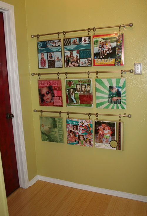 Hanging scrapbook pages great idea for craft room d cor for Craft room design layout