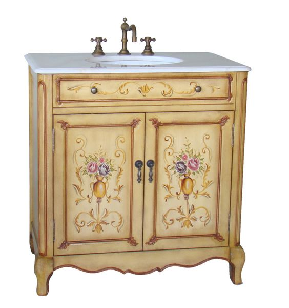 Adelina 33 inch Antique Hand Painted Bathroom Vanity | PATTY ...