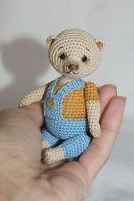 OOAK MINIATURE THREAD CROCHET ARTIST BEAR  by Alice Bears