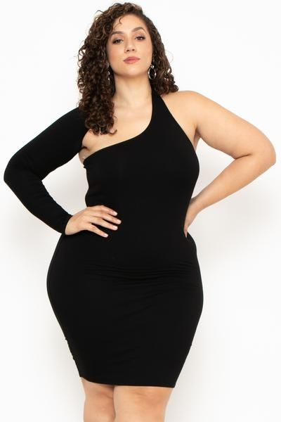 Plus Size One Sleeve Asymmetric Dress- Black - Curvy Sense