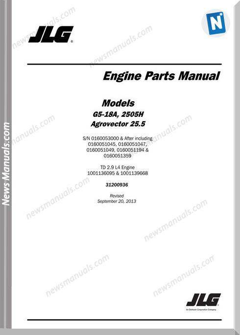 Jlg G5 18a 2505h Telehandler Engine Parts Manual Manual Repair Guide Repair Manuals