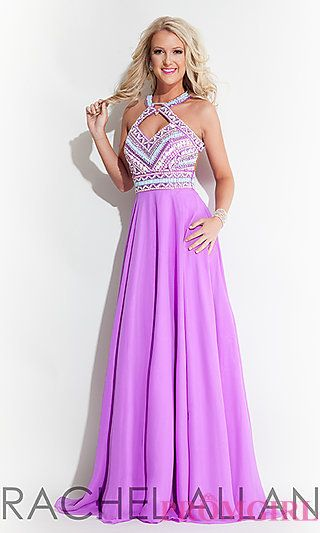 Sleeveless Open Back Long High Neck Prom Dress by Rachel Allan at PromGirl.com