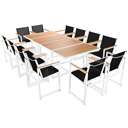 Festnight 13 Pcs Salon De Jardin Aluminium Wpc Mobilier D Exterieur 1 Table 12 Chaises Conjunto De Jantar Conjunto De Mesa