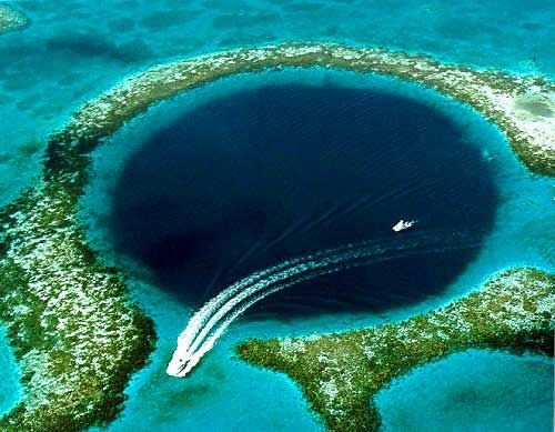 The Great Blue Hole, Belize - a large submarine sinkhole 300m across and 124m deep