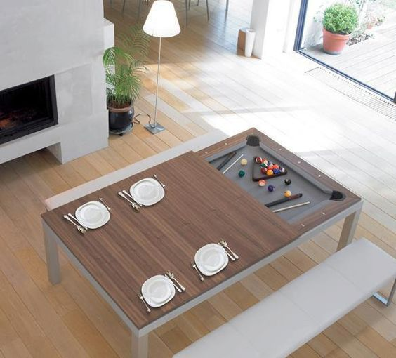 dining room table doubles as a pool table #athomewithSA