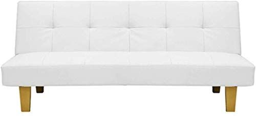 Best Seller White Click Clack Faux Leather Futon Sofa Bed Wooden Legs Online In 2020 Sofa Bed Wooden Leather Futon Futon Sofa