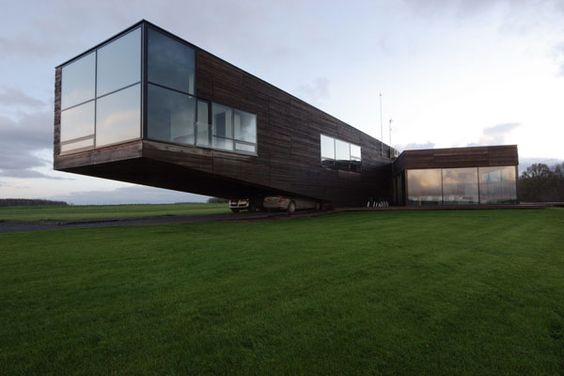 cantilevered home in Lithuania    Don't know if I'll ever have a reason for overcantilevering such as this.