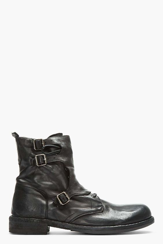 Officine Creative | Black Leather Buckled Lace-Up SERRANO Boots #officinecreative #boots
