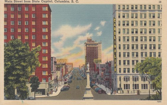 Columbia South Carolina Vintage Postcard Main Street From State