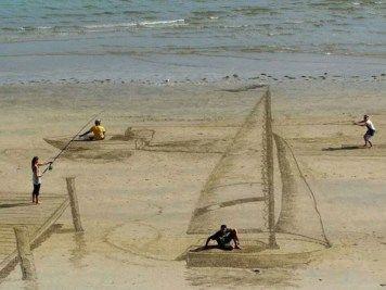 Ilusões 3D incriveis feitas na areia da praia (6)