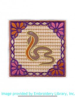 Stickmotiv Stickbild Aufnäher Stickerei Emblem Schlange  Schlange /  Stickerei India Cobra Square (A7773)