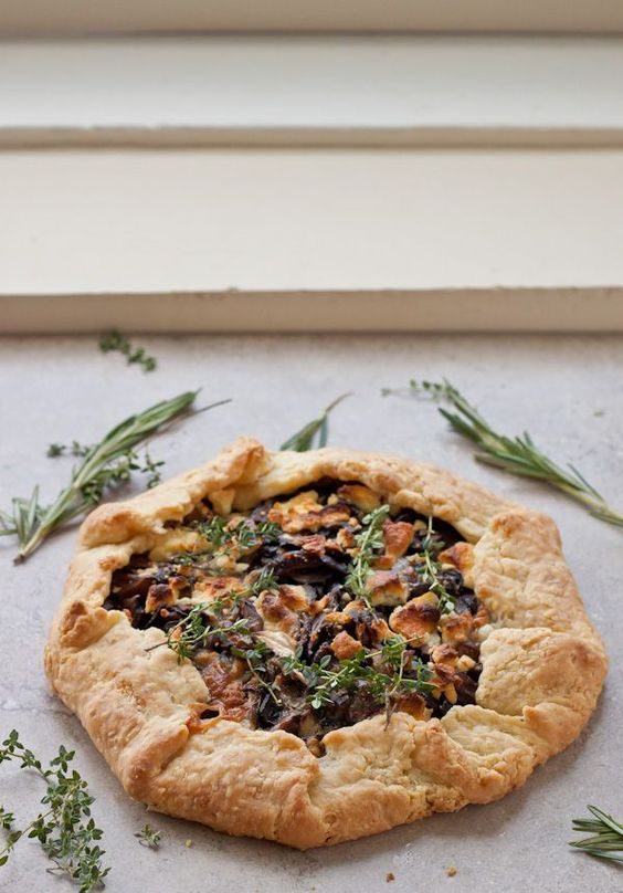 goat cheese galette is filled with sauteed mushrooms, fresh thyme ...