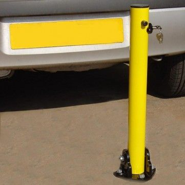 Lockable Fold Down Post. This is an extremely popular and inexpensive access control product used for restricting access to driveways and car parking spaces. Baser Plate Secured. The post is 60mm diameter with a total height in the raised position 620mm.