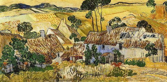 Case con il tetto di paglia viste da un collina di Vincent Van Gogh