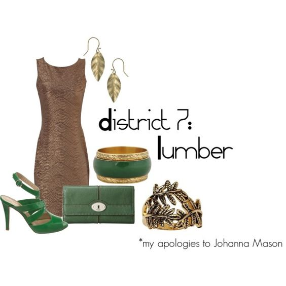 """District 7: Lumber, created by checkers007.polyvore.com      Outfit for The Hunger Games, District 7: Lumber. """"My stylist is the biggest idiot in the Capitol. Our tributes have been trees for forty years under her.""""  My apologies to Johanna Mason."""