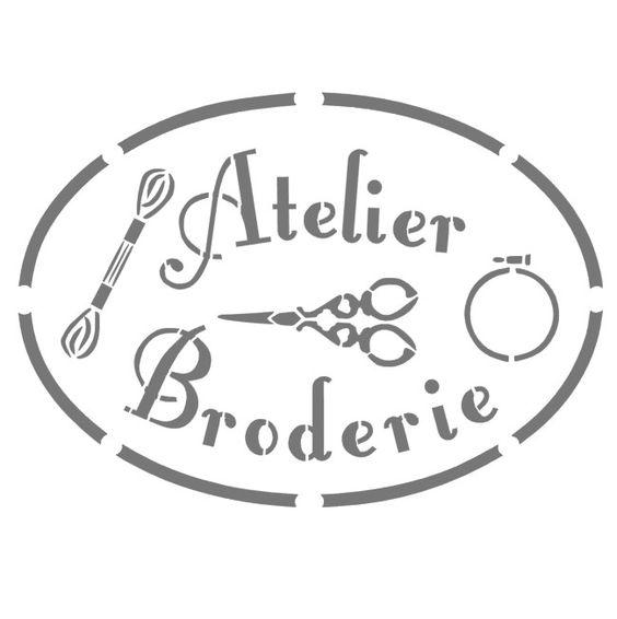 Pochoirs en vinyle adhésif repositionnable motif Atelier Broderie