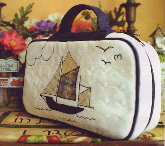 No.25 PDF Pattern of Marina Nautical Nautica Beach cosmetic bag coin purse handbag bag sewing applique patchwork handmade patterns e pattern