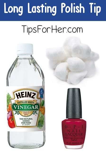 Before painting your nails, dip a cotton swab in a small amount of vinegar and wipe across each nail.