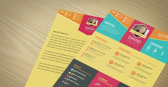 Resume \ Cover Letter Template Set Simple \ Colorful Design - colorful resume template free download