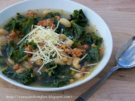 Kale, White Bean and Sausage Soup; cut the recipe in half for just Danielle and I and added mushrooms, because we like them. Delicious!