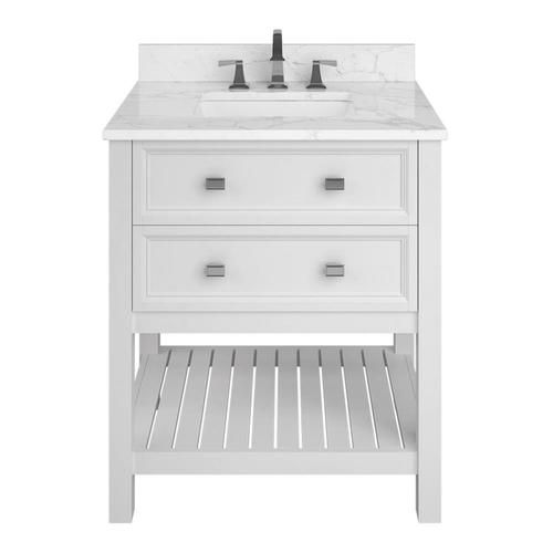 Scott Living Canterbury 30 In White Single Sink Bathroom Vanity With Natural Cararra Marble Top Lowes Com Single Sink Bathroom Vanity Bathroom Sink Vanity White Vanity Bathroom