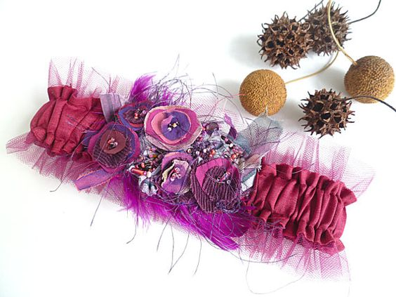 Something purple unique wearable fiber art garter by Cesart64