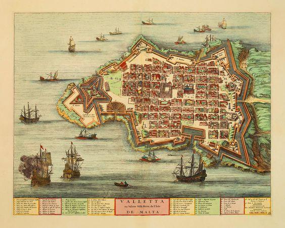 Valletta, Malta in 1705, by Joan Blaeu and Pierre Mortier