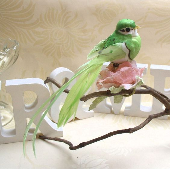 Artificial Bird / Streamertail - Green - Wedding Decorations, Christmas etc