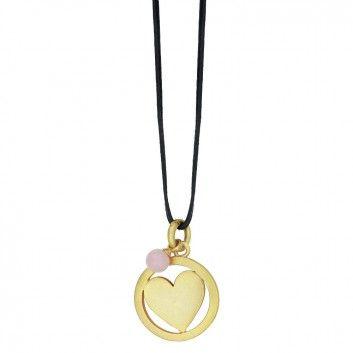 ❤ Sence Copenhagen - Lederkette mit großem Herz und Perle - Gold | melovely