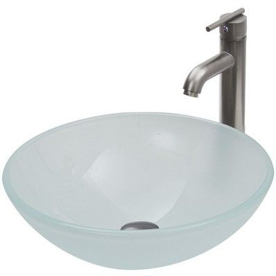 Vigo White Frost Vessel Sink and Faucet Set in Brushed Nickel VGT270 at DiscountBathroomVanities.com