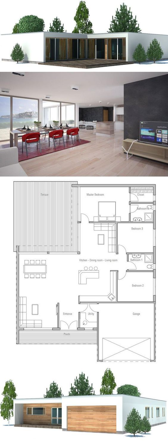 ^ Modern House Plan with double garage, three bedrooms. Floor plan ...