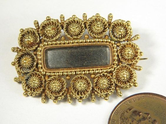 ANTIQUE GEORGIAN ENGLISH 15K GOLD CANNETILLE MOURNING LOCKET PIN BROOCH c1810