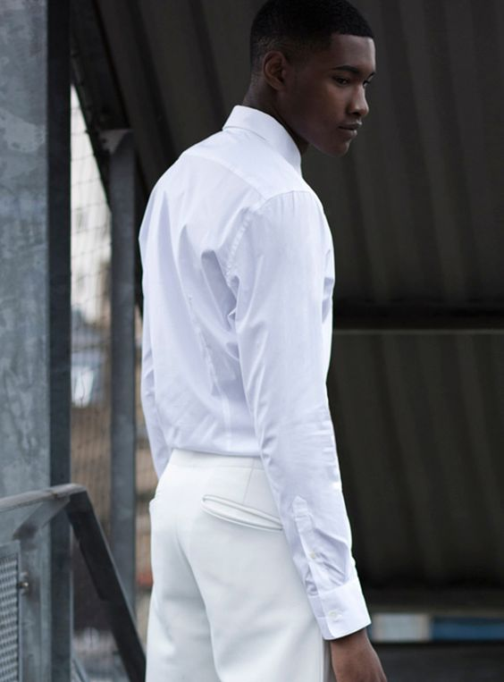 White outfit, black male model. DIOR HOMME VINTAGE HIP HOP SIZE 38 - 42 / SIZE 48 BY: ALEXANDER V WESLEY