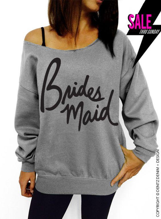 Bridesmaid - Script - Gray Slouchy Oversized Sweatshirt