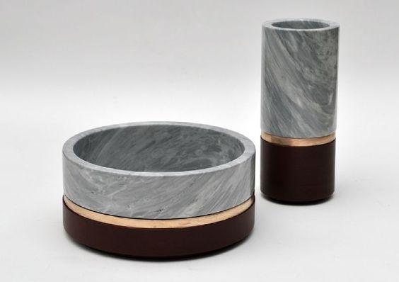 michaël verheyden design / dure vases in bronze, leather, marble