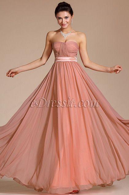 2014 New Simple Elegant Strapless Evening Dress Bridesmaid Dress (C00117346)