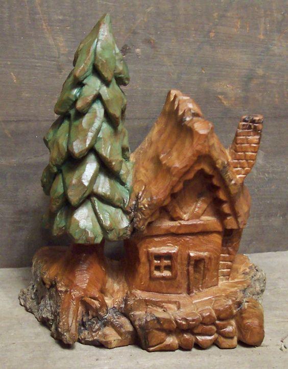 Wood carving cottonwood bark houses
