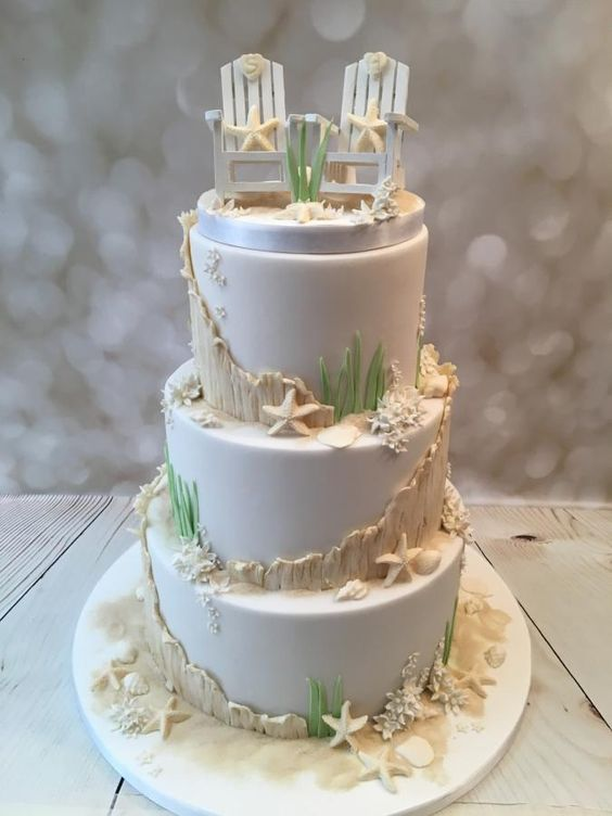 'Hamptons' beach cake by Elaine - Ginger Cat Cakery